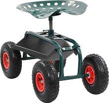 vidaXL Rolling Garden Cart with Tool Tray Green