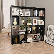 vidaXL Room Divider/Book Cabinet Black 110x24x110