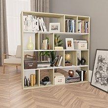 vidaXL Room Divider/Book Cabinet White and Sonoma