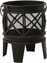vidaXL Rustic Fire Pit with Poker ?42x54 cm Steel