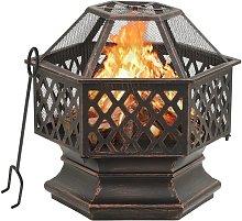 vidaXL Rustic Fire Pit with Poker 62x54x56 cm XXL