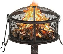 vidaXL Rustic Fire Pit with Poker 67.5 cm XXL