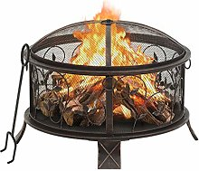 vidaXL Rustic Fire Pit with Poker Fire Bowl Patio