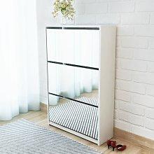 vidaXL Shoe Cabinet 3-Layer Mirror White