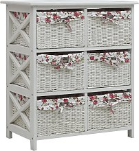 vidaXL Side Cabinet with Six Baskets White Wood
