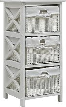 vidaXL Side Cabinet with Three Baskets White Wood