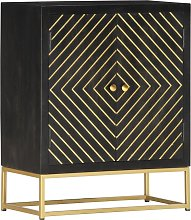 vidaXL Sideboard Black and Gold 60x30x75 cm Solid