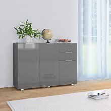 vidaXL Sideboard High Gloss Grey 107x35x76 cm
