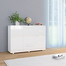 vidaXL Sideboard High Gloss White 107x35x76 cm