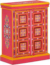 vidaXL Sideboard Solid Mango Wood Pink Hand Painted
