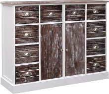 vidaXL Sideboard with 10 Drawers Brown 113x30x79