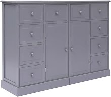 vidaXL Sideboard with 10 Drawers Grey 113x30x79 cm