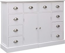 vidaXL Sideboard with 10 Drawers White 113x30x79