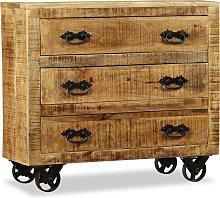 vidaXL Sideboard with 3 Drawers Rough Mango Wood