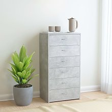 vidaXL Sideboard with 6 Drawers Concrete Grey