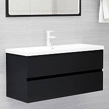 vidaXL Sink Cabinet Black 100x38.5x45 cm Chipboard