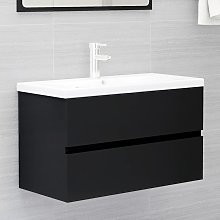 vidaXL Sink Cabinet Black 80x38.5x45 cm Chipboard