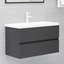 vidaXL Sink Cabinet Grey 80x38.5x45 cm Chipboard