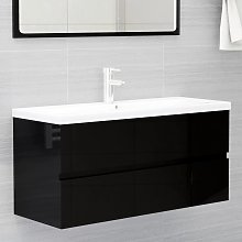 vidaXL Sink Cabinet High Gloss Black 100x38.5x45