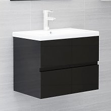 vidaXL Sink Cabinet High Gloss Black 60x38.5x45 cm