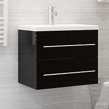 vidaXL Sink Cabinet High Gloss Black 60x38.5x48 cm