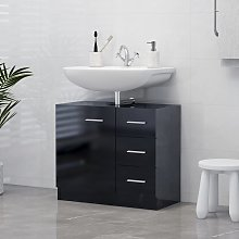 vidaXL Sink Cabinet High Gloss Black 63x30x54 cm