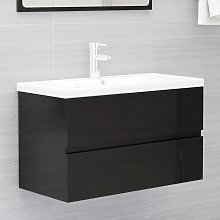vidaXL Sink Cabinet High Gloss Black 80x38.5x45 cm