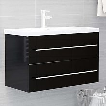 vidaXL Sink Cabinet High Gloss Black 80x38.5x48 cm
