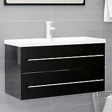 vidaXL Sink Cabinet High Gloss Black 90x38.5x48 cm