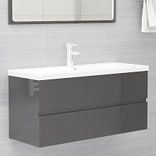 vidaXL Sink Cabinet High Gloss Grey 100x38.5x45 cm
