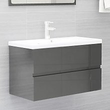 vidaXL Sink Cabinet High Gloss Grey 80x38.5x45 cm