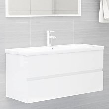 vidaXL Sink Cabinet High Gloss White 100x38.5x45