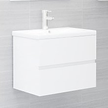 vidaXL Sink Cabinet High Gloss White 60x38.5x45 cm