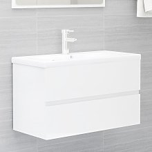 vidaXL Sink Cabinet High Gloss White 80x38.5x45 cm