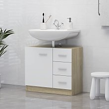 vidaXL Sink Cabinet White and Sonoma Oak 63x30x54