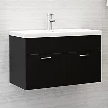 vidaXL Sink Cabinet with Built-in Basin Black