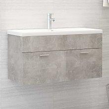 vidaXL Sink Cabinet with Built-in Basin Concrete