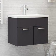 vidaXL Sink Cabinet with Built-in Basin Grey