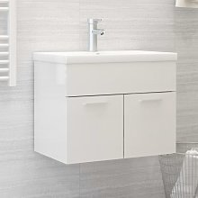 vidaXL Sink Cabinet with Built-in Basin High Gloss