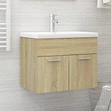 vidaXL Sink Cabinet with Built-in Basin Sonoma Oak