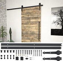 vidaXL Sliding Door Hardware Kit 183 cm Steel Black
