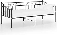 vidaXL Sofa Bed Frame Black Metal 90x200 cm - Black