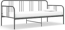 vidaXL Sofa Bed Frame Grey Metal 90x200 cm