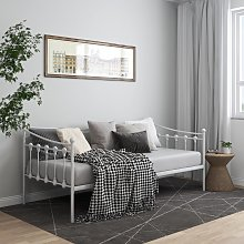 vidaXL Sofa Bed Frame White Metal 90x200 cm