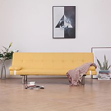 vidaXL Sofa Bed with Two Pillows Yellow Fabric