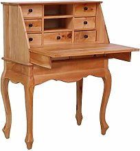 vidaXL Solid Mahogany Wood Secretary Desk with 9