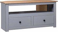 vidaXL Solid Pine Wood Corner TV Cabinet with 2