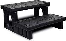 vidaXL Spa Steps Black Non-Skid Surface Sturdy