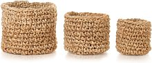 vidaXL Storage Basket Set 3 Pieces Braided Jute