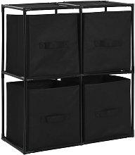 vidaXL Storage Cabinet with 4 Fabric Baskets Black